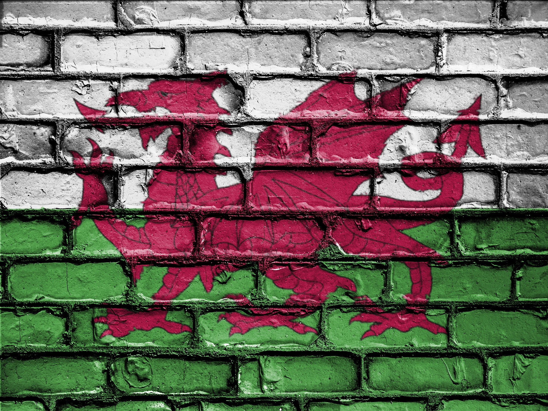 Welsh flag painted on the wall